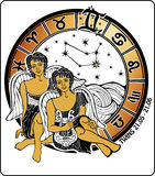 Twins boys  and the zodiac sign.Horoscope circle.I. Two twin boys sitting in the Greek . In the hands of one Lira. After them horoscope signs of the zodiac ,the Stock Image