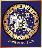 Twins boys zodiac sign.Horoscope circle.Retro Illu. Two Twins boys boy with wings sitting .Behind them are symbols of all zodiac signs Horoscope circle.Golden Stock Photo