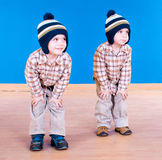 Twins brother  have fun playing Stock Images