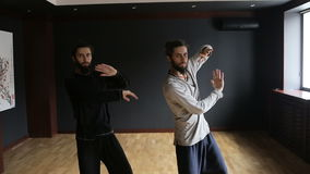 Twins brothers practice Tai Chi in the training hall stock video