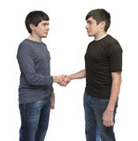 Twins brothers shaking hands Stock Images