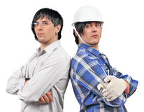 Twins businessman and engineer Royalty Free Stock Image