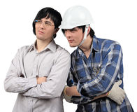 Twins businessman and worker discussing their work Royalty Free Stock Image