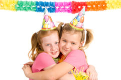 Twins celebrating birthday Royalty Free Stock Photography