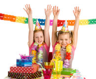 Twins celebrating birthday Royalty Free Stock Photo