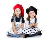 Twins children cook chef with food equipment Stock Image