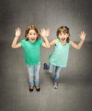 Twins children screaming Stock Photos