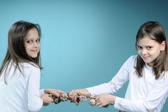 Twins in competition Stock Images