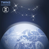 Twins constellation with stars and planet earth in 3d with light and atmosphere. Royalty Free Stock Photography