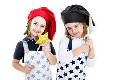 Twins cook chef with food equipment Stock Photo