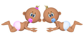 Twins 3d. Isolated on the white background Stock Photo