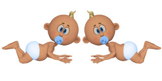 Twins 3d. Isolated on the white background Stock Images