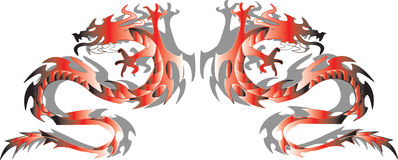 Twins dragons. Vector illustration Royalty Free Stock Image