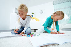 Twins drawing Stock Photography
