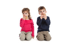 Twins eating cookies. Three year old fraternal boy and girl twins eating cookies isolated on white background royalty free stock image