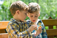 Twins eating ice cream Stock Photo