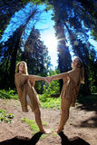 Twins in the forest Royalty Free Stock Photos