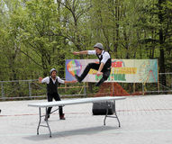 The Twins from France Clowns. At Lag B'Omer celebration  in Earl Bales Park in May 18, 2014 in Toronto, Canada Stock Photography
