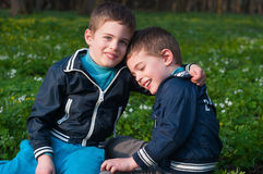 Twins frolic in a meadow. Four year old twin boys indulge in cuddling on the meadow Stock Photo