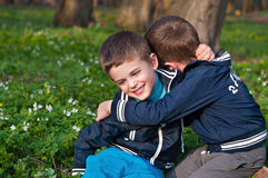 Twins frolic in a meadow. Four year old twin boys indulge in cuddling on the meadow Royalty Free Stock Photography
