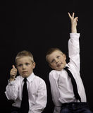 Twins gesturing Royalty Free Stock Photo