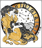 Twins girl and the zodiac sign.Horoscope circle.Il Stock Photography