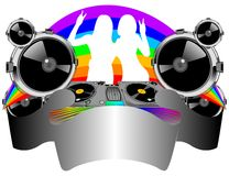 Twins Girls, Turntable, Sound. Twins Girls Silhouette, Turntable, Sound, Rainbow and Banner. Vector Illustration. No Meshes Stock Photography