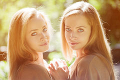 Twins. A group of young beautiful girls. Two women face close-up Royalty Free Stock Photo