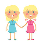 Twins happy kids holding hands boy and girl vector illustration. Stock Photos