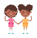 Twins happy kids holding hands boy and girl vector illustration. Stock Photo