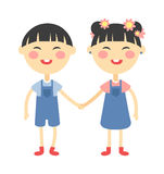 Twins happy kids holding hands boy and girl vector illustration. Stock Photography