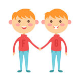 Twins happy kids holding hands boy and girl vector illustration. Royalty Free Stock Images