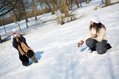 Twins have fun in the park Royalty Free Stock Photo