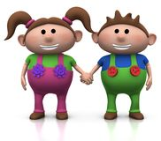Twins holding hands Royalty Free Stock Photography