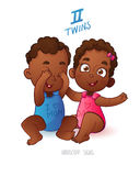Twins horoscope sign. Two cartoon african american babies boy and girl playing each other Royalty Free Stock Image