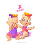 Twins horoscope sign. Two cartoon baby girls playing each other Royalty Free Stock Photos