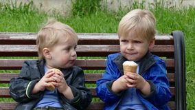 Twins with ice cream in park. Daytime stock video