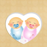 Twins. Illustration of babies with pacifier Stock Images
