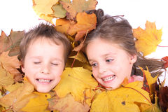 Twins In Autumn Leaves Stock Photography