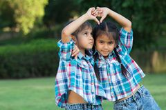 Twins Kids playing in park. Twin children playing in the park Royalty Free Stock Photo