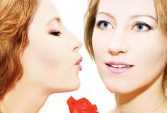 Twins kiss. A collage with 2 pictures of the same model Royalty Free Stock Photography