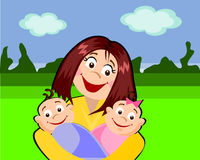 Twins. The mother with her babies-twins in the park royalty free illustration