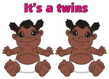 Twins negro babes girls and pink letters Stock Photos