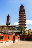 Twins pagodas-The old landmark of Taiyuan city Royalty Free Stock Images