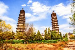 Twins pagodas-The old landmark of Taiyuan city. They were built in the Ming Dynasty of Chinese Times(A.D. 1608-1612). Pagodas are about 55m high. Taken in the Royalty Free Stock Photography