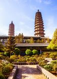 Twins pagodas-The old landmark of Taiyuan city. They were built in the Ming Dynasty of Chinese Times(A.D. 1608-1612). Pagodas are about 55m high. Taken in the Stock Photography