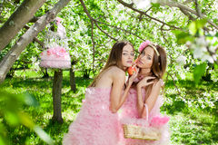 Twins in pink doll style Royalty Free Stock Photography