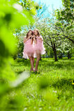 Twins in pink doll style Royalty Free Stock Photos