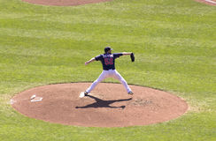Twins Pitch. Minneapolis, MN - September 15, 2012: Brian Duensing pitching during a Minnesota Twins game at Target Field stock images