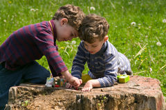 Twins play with enthusiasm. Identical twins sit on the stump of the tree and play with interest. They dressed in stripy shirts different colors. They are curly royalty free stock photography